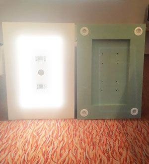 Example of blocks to be embedded, lighting in the form of rigid led strip or in the form of spotlights