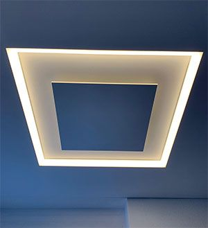slimline illuminated heater ceiling embedded installation DEGXEL