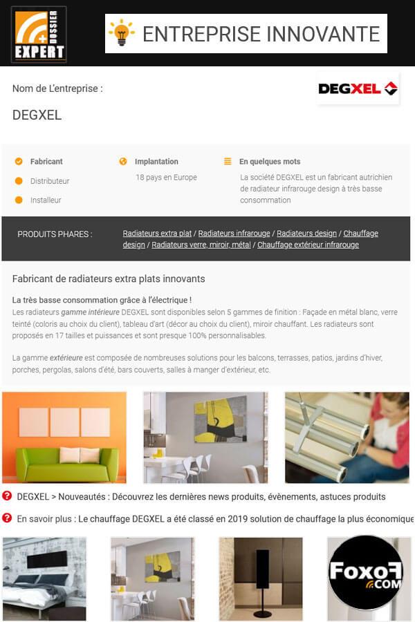 La société DEGXEL est un fabricant autrichien de radiateur infrarouge design à très basse consommation
