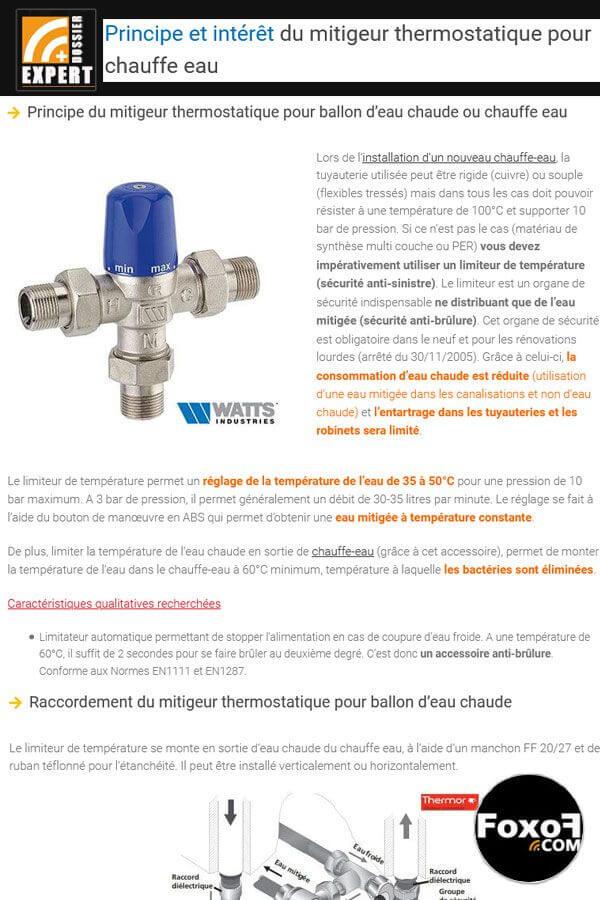 Principe et intérêt du limitateur de température ou mitigeur thermostatique pour chauffe eau