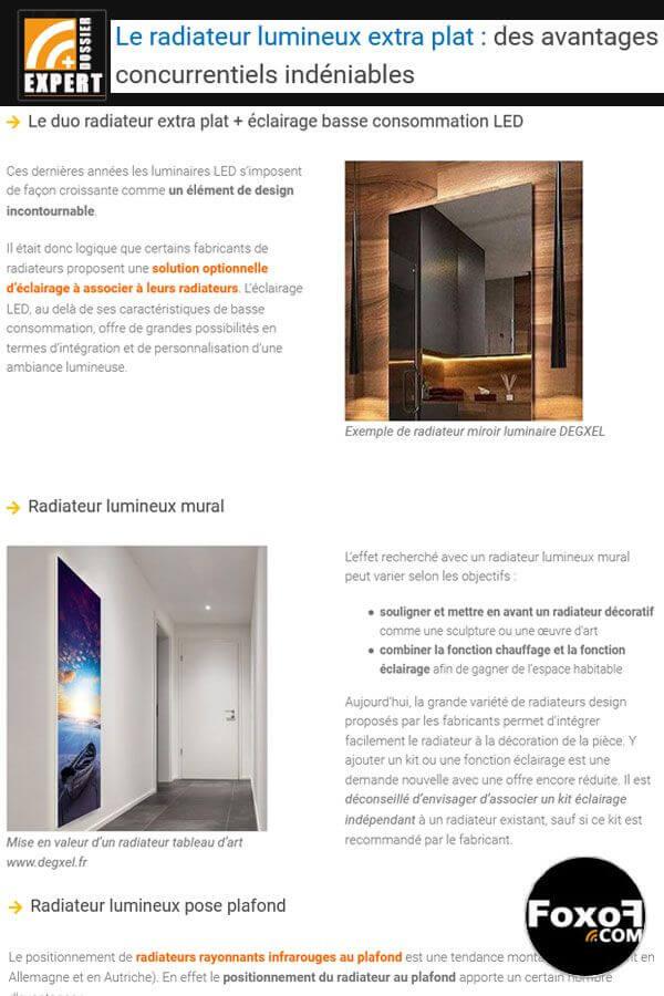 Radiateur lumineux ou chauffage avec éclairage intégré ? Gain de place et ambiance lumineuse soignée