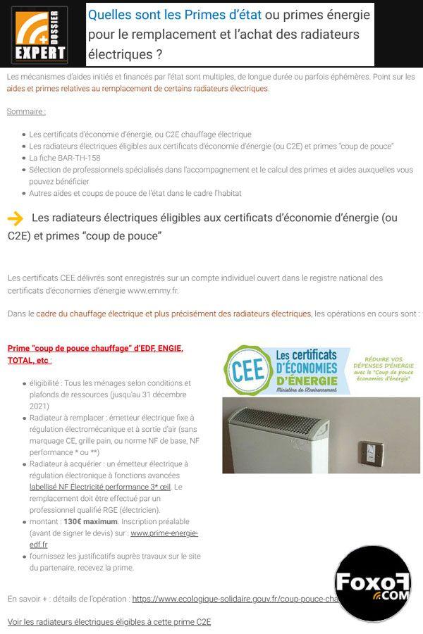Quelles sont les Primes d'état ou primes énergie pour le remplacement et l'achat des radiateurs électriques ?