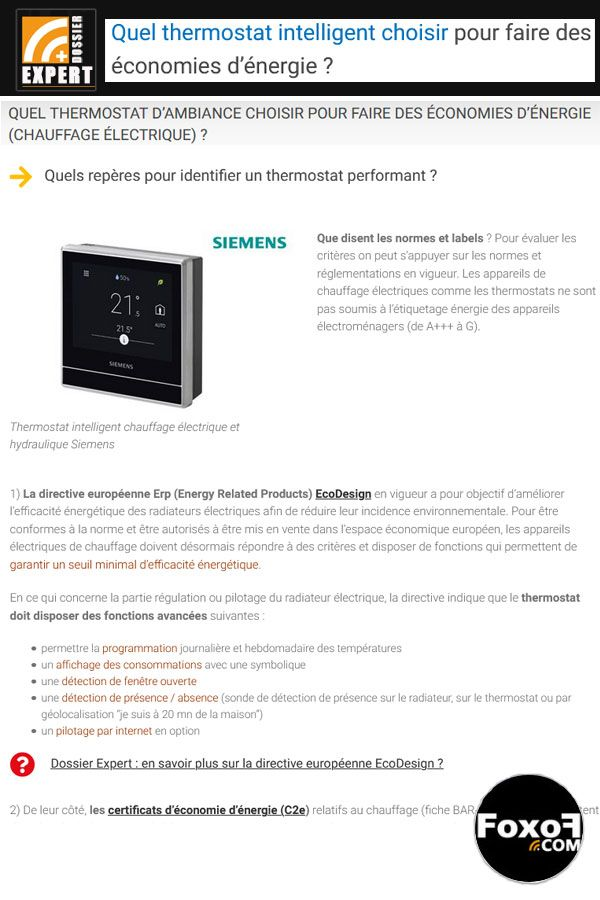Quel thermostat choisir pour faire des économies d'énergie (chauffage électrique) ?